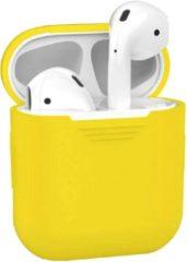 BTH Siliconen Bescherm Hoesje Cover Hoes voor Apple AirPods Case - Geel