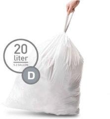 Witte Simplehuman Simple Human Afvalzakken Code D 20 stuks voor restafval 20 liter
