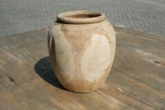 DBT Bloempot-Sierpot-Vaas Hout-Teak hout Bruin-Naturel-Licht bruin-Beige D 23 cm H 25 cm (Binnenmaat D 12.5 cm H 17 cm)