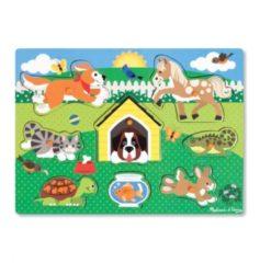 Melissa & Doug houten vormenpuzzel huisdieren 8 delig