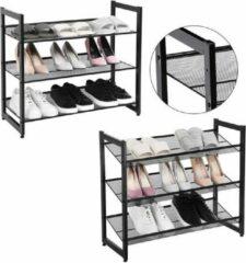 Zwarte Songmics Nancy's Schoenenrek Voor 16 Paar Schoenen - Stapelbaar Schoenen Rek - Schoenenrekken