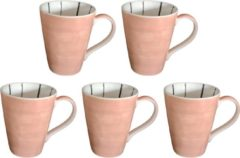 DeSfeerbrenger Mok - Beker - Set van 5 stuks mokken/bekers - Keramiek - 100% hand painted - Parel roze - 300 ml
