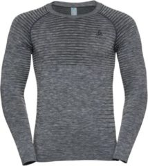 Licht-grijze Odlo Bl Top Crew Neck L/S Performance Light Heren Sportshirt - Grey Melange - Maat S