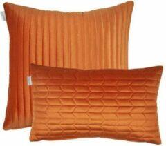 Kussoo Sierkussen Fluweel Streep Oranje 50x50 cm & 30x50 set van 2