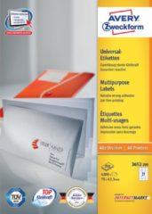 Avery Witte Etiketten Quickpeel Ft 70 X 42,3 Mm (B X H), 4.200 Stuks, 21 Per Blad, Doos Van 200 Blad