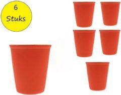 Present Time (Pt,) Present Time Cappuccino kop met Rubber Keramische Coating – Set 6 Stuks – Koffie Mok – Kopje – Slik Neon Oranje