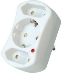 KOPP doorvoerstekker met een randaarde- en twee eurocontacten plus overspanningsfilter, wit