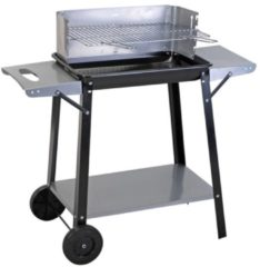 Zilveren Barbecue Equipment Barbecue grill met zijtafels en 2 wielen