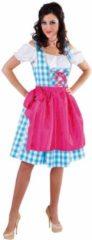 Magic by freddy Luxe 3-delige blauwe dirndl met blouse en roze schort - Oktoberfest kleding dames maat XS (32-34)