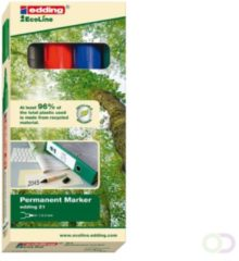 Edding Ecoline 21 Permanente marker Ronde punt 1 5 - 3 mm Kleurenassortiment 4 Stuks