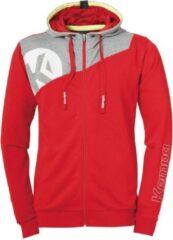Kempa Core 2.0 Hood Jacket Kind Rood-Donker Grijs Melange Maat 128