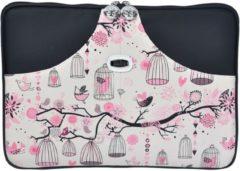 Misstella Laptop Sleeve met vogels tot 14 inch – Zwart/Roze