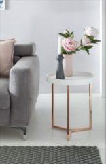 Wohnling Design Beistelltisch Weiß / Kupfer 40 cm Tabletttisch Holz Metall Wohnzimmertisch mit Tablett Sofatisch modern Kaffeetisch rund