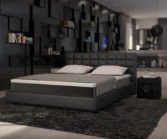DeLife Bett Junis Schwarz 180x200 cm mit Topper und Matratze Boxspringbett