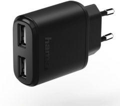 USB-oplader Hama 2-fach 173623 (Thuislader) Uitgangsstroom (max.) 2400 mA 2 x USB