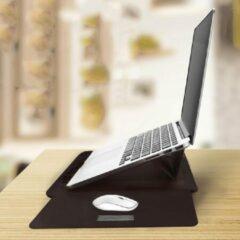 The Shape Label™ - Multifunctionele Laptop Standaard / Leren Laptoptas   Notebook standaard - Hoes Voor 11 12 inch Laptop   Zwart Leer