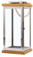Beliani Windlicht zilver/lichte houtkleur BORNEO