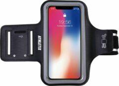 ATHLETIX Sportarmband - Universele Hardloop Armband - iPhone, Samsung & Huawei - Reflecterend, Spatwaterdicht, Sleutelhouder, Verstelbaar - Neopreen - Zwarte Sportarmband