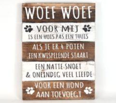"""Naturelkleurige Woodart Wandborden Hout Spreuken Honden """"Woef Woef"""" Woondecoratie Cadeau Verjaardag"""