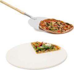 Relaxdays 2er Pizza Set Pizzastein Baking Stone Pizzaschieber Pizzaschaufel Pizzaheber