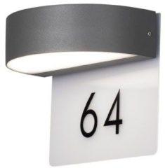 Konstsmide Power LED wandlamp Monza antraciet 2x 4.5W 6/18cm met transparant huisnummerplaat IP54 7855-370