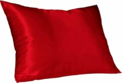 Rode ''merkloos'' Satijne Kussensloop Beauty Skin Care 60x70 cm Red