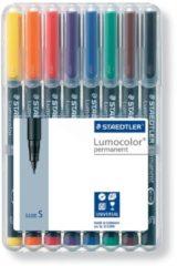 Staedtler OHP-marker Lumocolor Permanent geassorteerde kleuren, box met 8 stuks, superfijn 0,4 mm