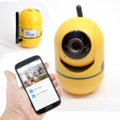 Gele MeaShop.nl Bugsy babyfoon en veiligheidscamera met WIFI aansluiting van MeaShop