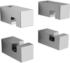 Clou Hold Me set a 4 spiegelklemmen vierkant chroom B1.5xH3.5xD1.5cm CL/08.01.002.29
