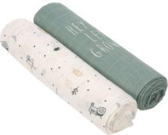 Lässig Heavenly soft swaddle doek / hydrofiele luier met bamboe 2 stuks - Garden Explorer boys XL 120 x 120 cm