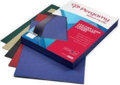 Pergamy omslagen lederlook ft A4, 250 micron, pak van 100 stuks, blauw