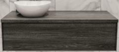 Boss & Wessing Badkamermeubel BWS Madrid Washed Oak 120 cm met Massief Topblad en Keramische Waskom Links (1 kraangat)