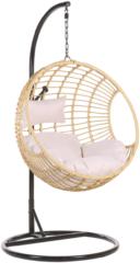 Beliani Hangstoel met standaard rotan beige/zwart ASPIO