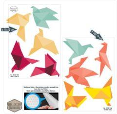 Groene Walldecor Vogelbescherming raamstickers Origami kleuren