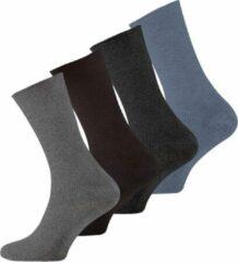Donkergrijze Naft 4 paar diabetes sokken met rib 39-42