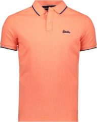 Koraalrode Superdry PoOrange Label Side Pique Heren Poloshirt - Maat L