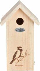 Beige Best for Birds Koolmees silhouet - Vogelhuisje - Bruin - 16,5 x 14 x 29,5 cm