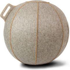 Zitbal - Velt - met bruine stiknaden - Ø60-65 - Greige - Vluv