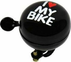 Dresco Fietsbel - Dingdong I love my bike - Zwart - 80 mm