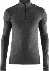 Grijze Craft FuseKnit Comfort Zip Longsleeve Hardloopshirt Heren