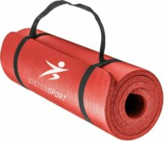 Siston® Siston Sport Fitnessmat – 183 cm x 61 cm x 1.5 cm - Rood – Inclusief draagtas en extra draagriem