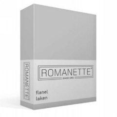 Zilveren Romanette Flanel Laken - 100% Geruwde Flanel-katoen - 2-persoons (200x260 Cm) - Grijs