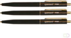 Balpen Quantore drukknop met metalen clip zwart medium
