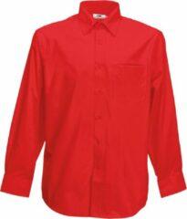 Fruit Of The Loom Heren Poplin Overhemd Lange Mouwen (Rood)