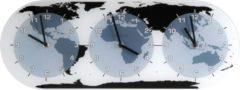 Witte NeXtime Mondial - Klok - Wereldtijden - Glas - 18.6x50 cm - Multicolor