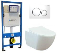 Douche Concurrent Geberit UP 320 Toiletset - Inbouw WC Hangtoilet Wandcloset - Creavit Mat Wit Rimfree Geberit Sigma-20 Wit