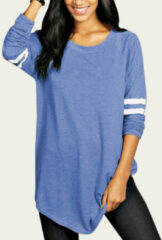 Newchic Striped Long Sleeve O-neck Casual Plus Size Blouse