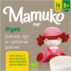 Mamuko biologische pap 6+ mnd. - boekweit, rijst en spelttarwe granenmix (4 x 240 gr.)