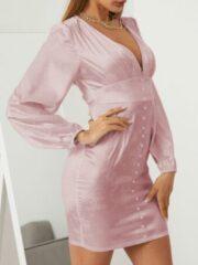 Roze YOINS Solid Color Patchwork Button Dress