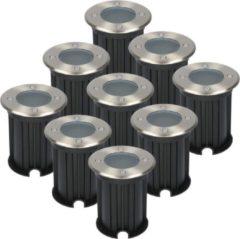 Roestvrijstalen HOFTRONIC™ 9x Maisy dimbare LED Grondspot rond RVS excl. lichtbron IP67 straal waterdicht 3 jaar garantie